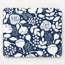 Navy blue and white floral pattern mouse pad