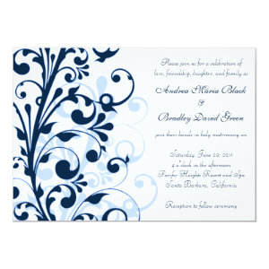 Navy Blue and White Floral Wedding Invitation 5