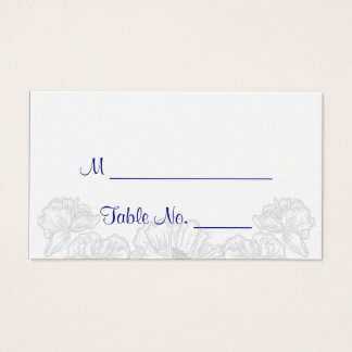Navy Blue and White Floral Wedding Place Cards
