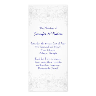 Navy Blue and White Floral Wedding Program