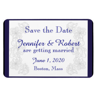 Navy Blue and White Floral Wedding Save the Date Rectangular Photo Magnet