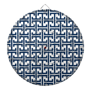 Navy Blue and White Geometric Retro Pattern Dart Board