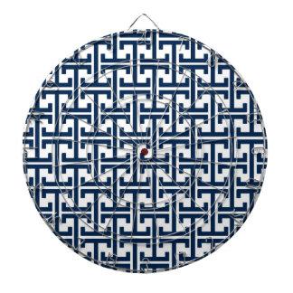 Navy Blue and White Geometric Retro Pattern Dart Board