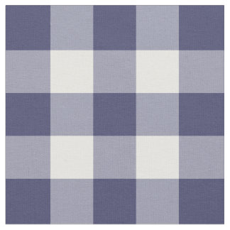 Navy Blue and White Gingham Pattern Fabric