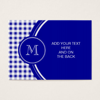 Navy Blue and White Gingham, Your Monogram Business Card