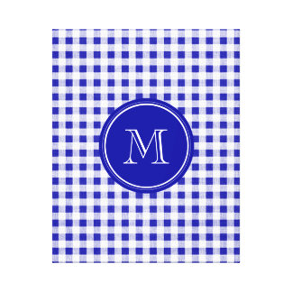 Navy Blue and White Gingham, Your Monogram Gallery Wrap Canvas