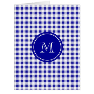 Navy Blue and White Gingham, Your Monogram Card