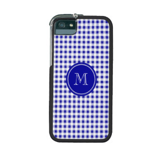 Navy Blue and White Gingham, Your Monogram iPhone 5/5S Case