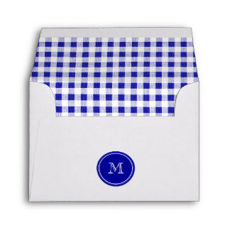 Navy Blue and White Gingham, Your Monogram Envelope