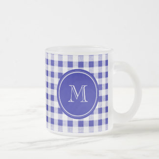 Navy Blue and White Gingham, Your Monogram Frosted Glass Coffee Mug