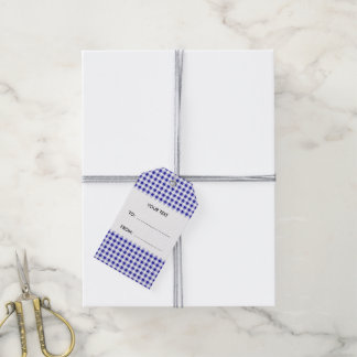 Navy Blue and White Gingham, Your Monogram Gift Tags