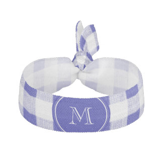 Navy Blue and White Gingham, Your Monogram Hair Tie