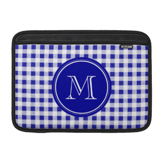 Navy Blue and White Gingham, Your Monogram MacBook Air Sleeve