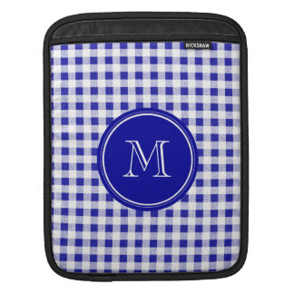 Navy Blue and White Gingham, Your Monogram iPad Sleeve