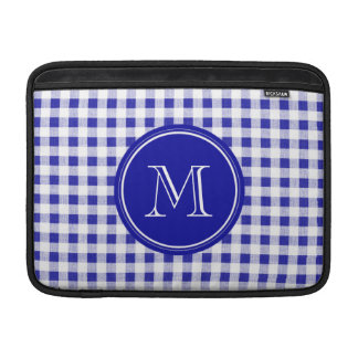 Navy Blue and White Gingham, Your Monogram MacBook Sleeve
