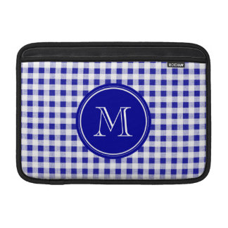 Navy Blue and White Gingham, Your Monogram Sleeve For MacBook Air