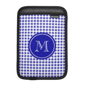 Navy Blue and White Gingham, Your Monogram Sleeve For iPad Mini