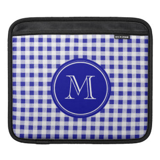 Navy Blue and White Gingham, Your Monogram Sleeves For iPads