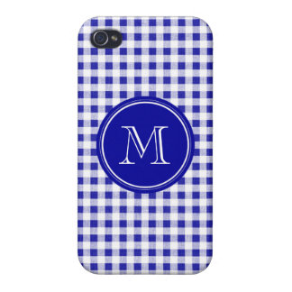 Navy Blue and White Gingham, Your Monogram Cases For iPhone 4