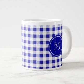 Navy Blue and White Gingham, Your Monogram Large Coffee Mug