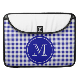 Navy Blue and White Gingham, Your Monogram Sleeve For MacBook Pro