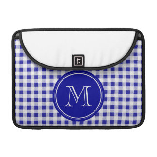 Navy Blue and White Gingham, Your Monogram MacBook Pro Sleeve