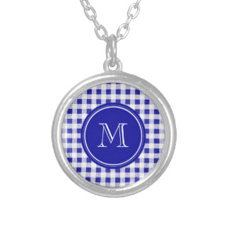 Navy Blue and White Gingham, Your Monogram Custom Necklace