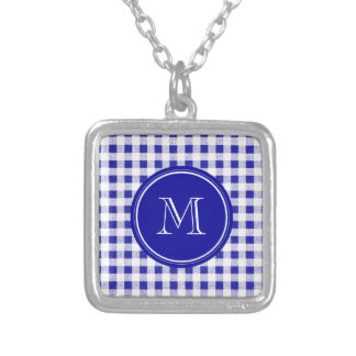 Navy Blue and White Gingham, Your Monogram Necklaces