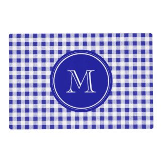 Navy Blue and White Gingham, Your Monogram Laminated Place Mat