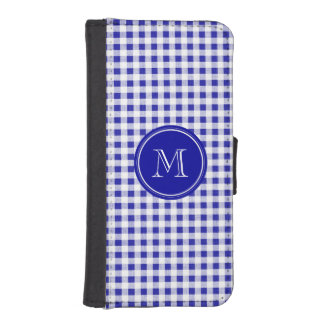 Navy Blue and White Gingham, Your Monogram iPhone 5 Wallet Cases