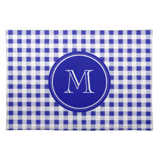 Navy Blue and White Gingham, Your Monogram Place Mats