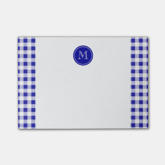 Navy Blue and White Gingham, Your Monogram Post-it® Notes
