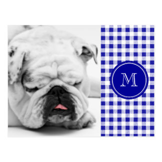 Navy Blue and White Gingham, Your Monogram Postcard