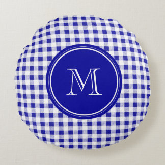 Navy Blue and White Gingham, Your Monogram Round Pillow
