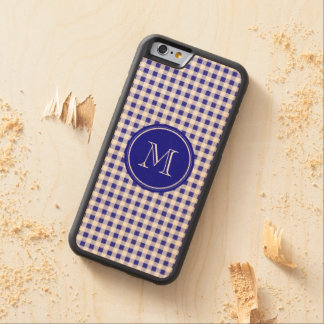 Navy Blue and White Gingham, Your Monogram Carved® Maple iPhone 6 Bumper Case
