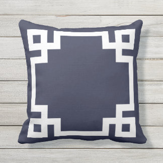Navy Blue and White Greek Key Border Outdoor Pillow