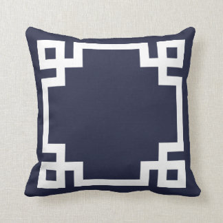 Navy Blue and White Greek Key Border Throw Pillow
