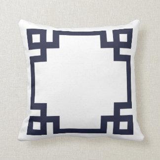 Navy Blue and White Greek Key Border Throw Pillows