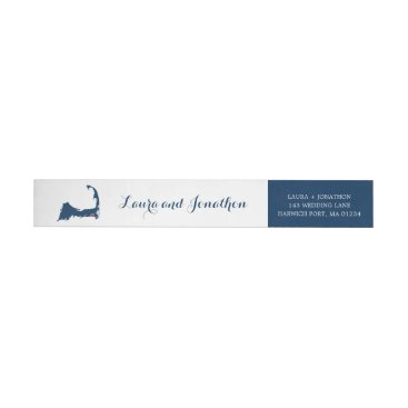 Beach Themed Navy Blue and White Harwich Port Cape Cod Wedding Wrap Around Label