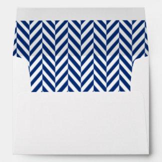 Navy Blue and White Herringbone Lined Envelopes