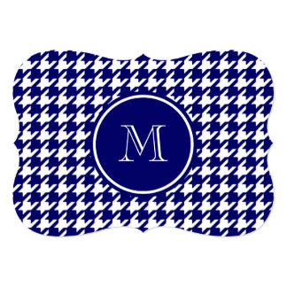 Navy Blue and White Houndstooth Your Monogram 5x7 Paper Invitation Card
