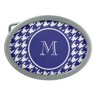 Navy Blue and White Houndstooth Your Monogram Belt Buckle