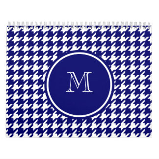 Navy Blue and White Houndstooth Your Monogram Calendars