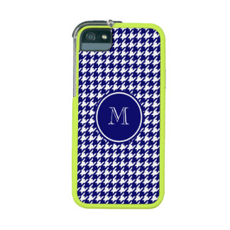 Navy Blue and White Houndstooth Your Monogram iPhone 5 Cases