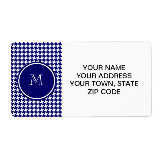 Navy Blue and White Houndstooth Your Monogram Custom Shipping Label