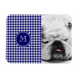 Navy Blue and White Houndstooth Your Monogram Magnets