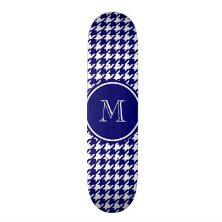 Navy Blue and White Houndstooth Your Monogram Skateboards