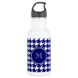 Navy Blue and White Houndstooth Your Monogram Stainless Steel Water Bottle