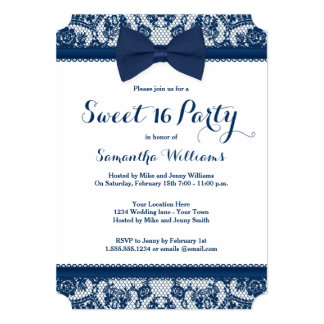Navy Blue and White Lace Bow Sweet 16 Party 5x7 Paper Invitation Card