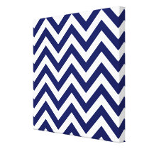 Navy Blue and White Large Chevron ZigZag Pattern Canvas Print
